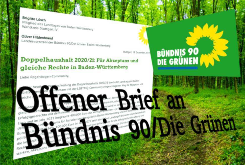 Offener Brief an Bündnis 90/Die Grünen im Landtag Baden-Württemberg - Für mehr Akzeptanz und gleiche Rechte in Baden-Württemberg 1