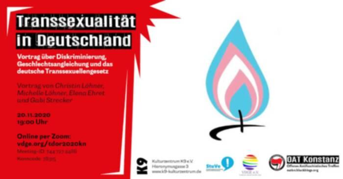 #tdor2020 – Vortrag zum Transgender Day of Remembrance Konstanz von Elena Ehret und Christin Löhner