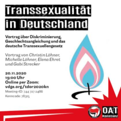 #TDoR2020 – International Transgender Day of Remembrance 2020 in Konstanz