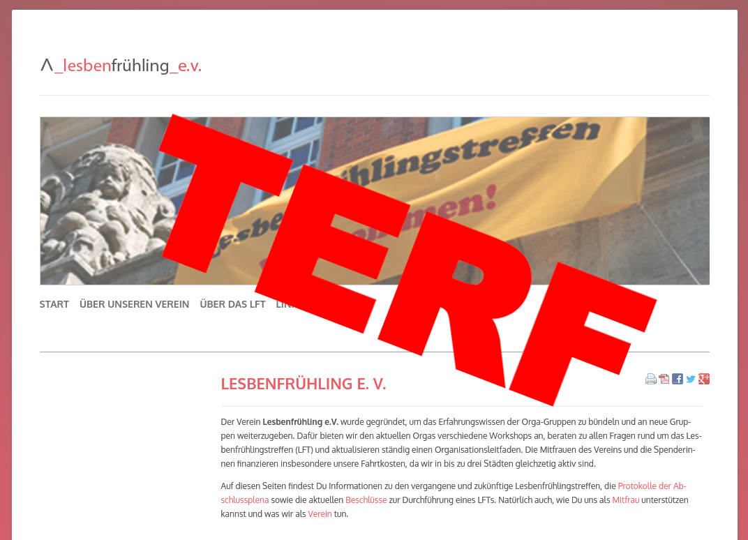 Viele cis Lesben leiden weiterhin unter altbekanntem trans-feindlichem radikalem Feminismus – Lesbenfrühlingstreffen LFT2021 Bremen